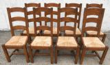SOLD - Set of Eight Heavy Oak, Ladderback Rush Seat Country Style Dining Chairs